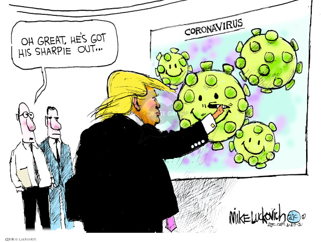 Cartoonist Mike Luckovich  Mike Luckovich's Editorial Cartoons 2020-02-27 president