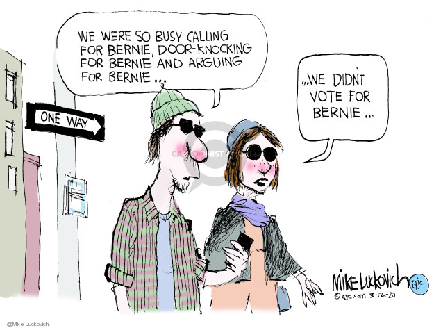 Cartoonist Mike Luckovich  Mike Luckovich's Editorial Cartoons 2020-03-12 election