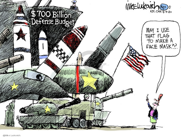 Cartoonist Mike Luckovich  Mike Luckovich's Editorial Cartoons 2020-04-07 weaponry