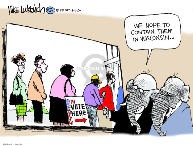 Cartoonist Mike Luckovich  Mike Luckovich's Editorial Cartoons 2020-04-08 election
