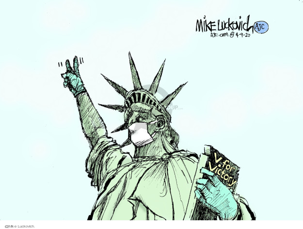 Cartoonist Mike Luckovich  Mike Luckovich's Editorial Cartoons 2020-04-09 liberty