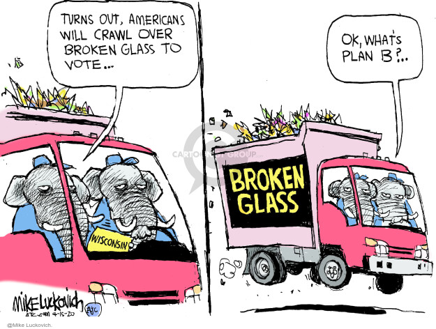 Cartoonist Mike Luckovich  Mike Luckovich's Editorial Cartoons 2020-04-15 election