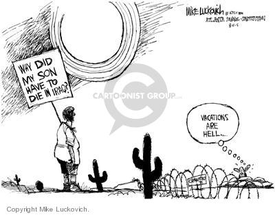 Cartoonist Mike Luckovich  Mike Luckovich's Editorial Cartoons 2005-08-12 Crawford, Texas