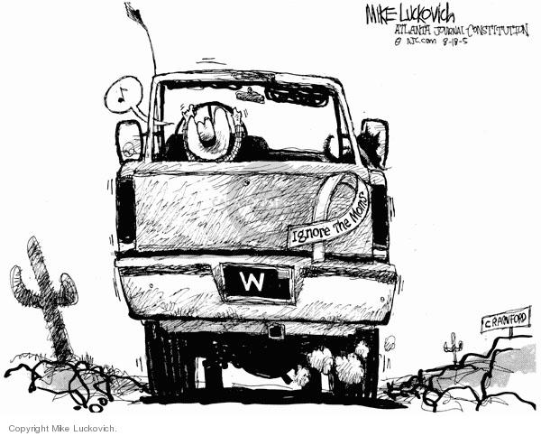 Cartoonist Mike Luckovich  Mike Luckovich's Editorial Cartoons 2005-08-18 Crawford, Texas