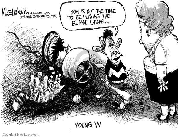 Cartoonist Mike Luckovich  Mike Luckovich's Editorial Cartoons 2005-09-08 Bush accountability