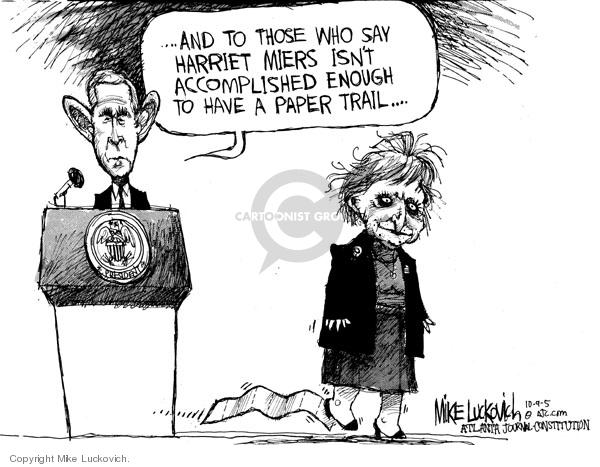 Cartoonist Mike Luckovich  Mike Luckovich's Editorial Cartoons 2005-10-09 judicial branch