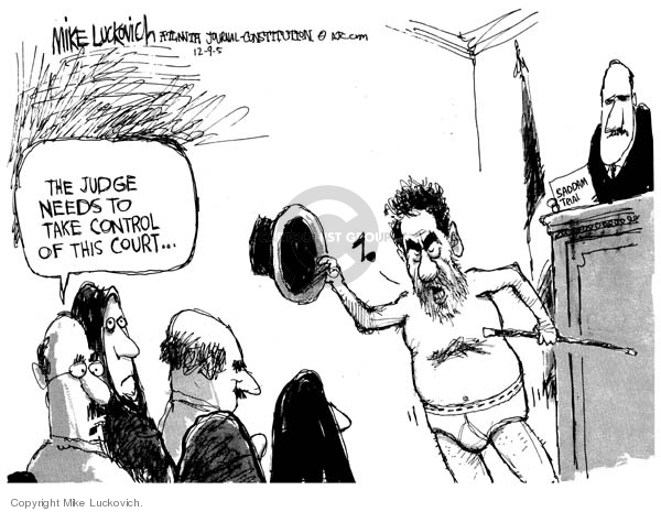 Cartoonist Mike Luckovich  Mike Luckovich's Editorial Cartoons 2005-12-09 courtroom