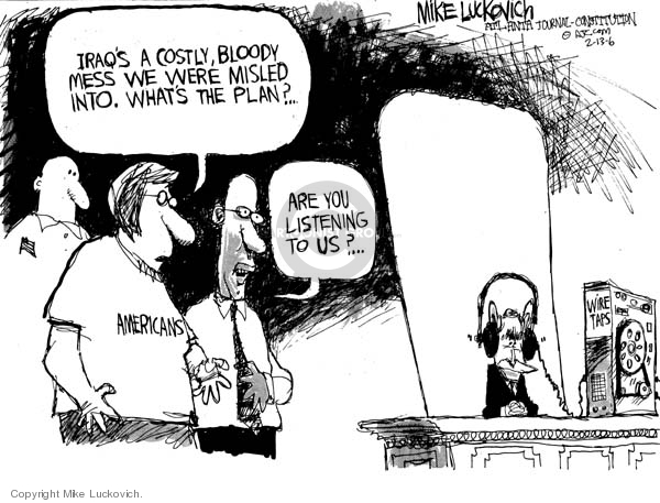 Cartoonist Mike Luckovich  Mike Luckovich's Editorial Cartoons 2006-02-10 civil liberty