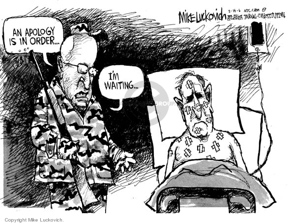 Cartoonist Mike Luckovich  Mike Luckovich's Editorial Cartoons 2006-02-14 hunt