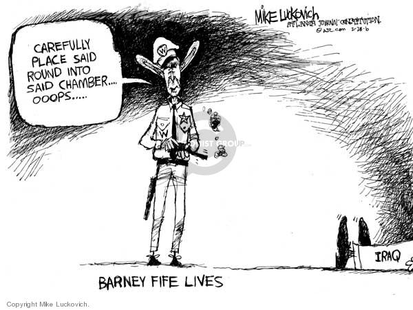 Cartoonist Mike Luckovich  Mike Luckovich's Editorial Cartoons 2006-02-28 gun control law
