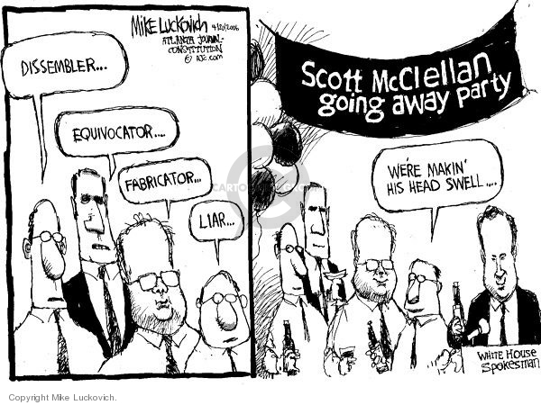 Mike Luckovich  Mike Luckovich's Editorial Cartoons 2006-04-20 press secretary