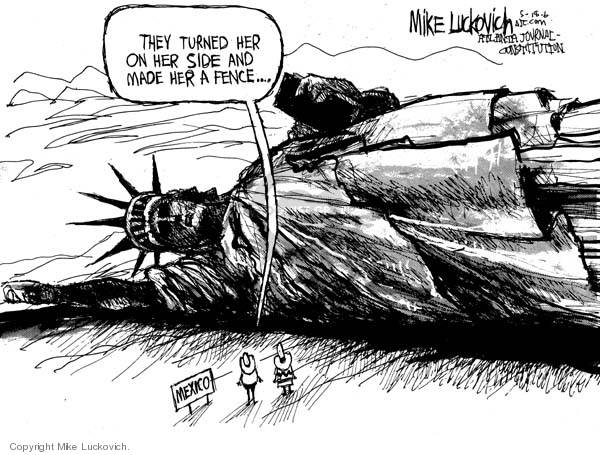 Mike Luckovich  Mike Luckovich's Editorial Cartoons 2006-05-18 Mexican immigration