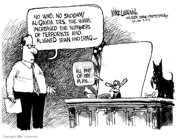 Cartoonist Mike Luckovich  Mike Luckovich's Editorial Cartoons 2006-09-15 Iraq war rationale