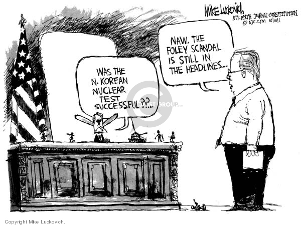 Cartoonist Mike Luckovich  Mike Luckovich's Editorial Cartoons 2006-10-10 distract
