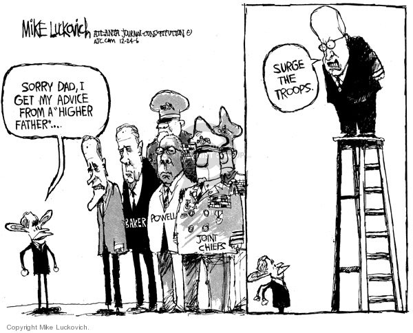 Cartoonist Mike Luckovich  Mike Luckovich's Editorial Cartoons 2006-12-22 advice