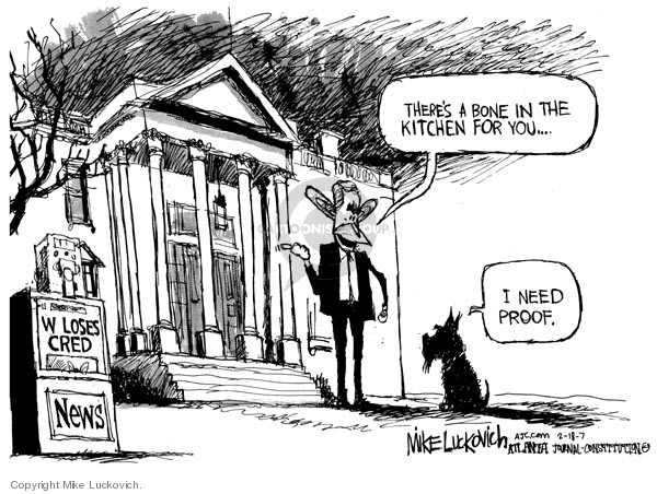 Cartoonist Mike Luckovich  Mike Luckovich's Editorial Cartoons 2007-02-16 George W. Bush