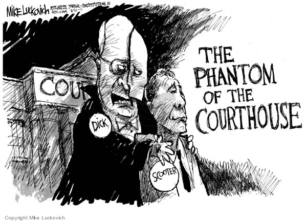 Cartoonist Mike Luckovich  Mike Luckovich's Editorial Cartoons 2007-02-21 courtroom