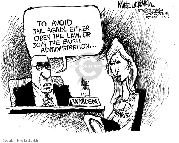 Cartoonist Mike Luckovich  Mike Luckovich's Editorial Cartoons 2007-07-05 sentence