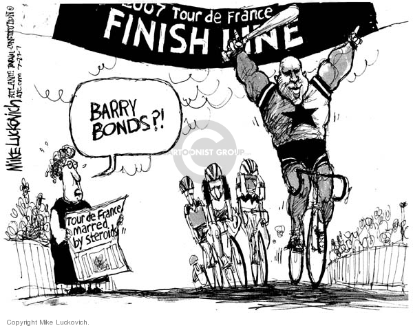 Tour de France Marred by Steroids.  2007 Tour de France Finish Line.  Barry Bonds?