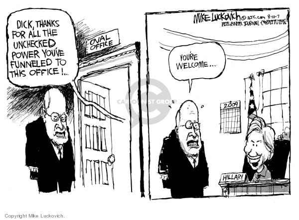 Cartoonist Mike Luckovich  Mike Luckovich's Editorial Cartoons 2007-08-10 Dick Cheney