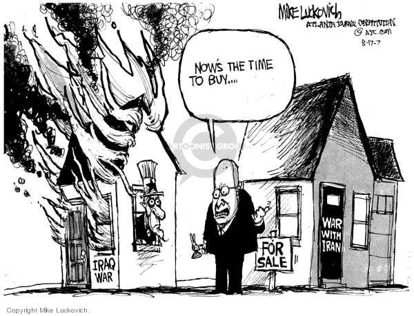 Cartoonist Mike Luckovich  Mike Luckovich's Editorial Cartoons 2007-08-17 Dick Cheney