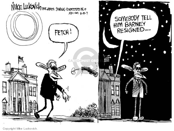 Cartoonist Mike Luckovich  Mike Luckovich's Editorial Cartoons 2007-08-17 resign