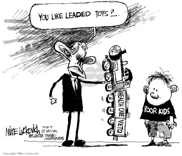 Cartoonist Mike Luckovich  Mike Luckovich's Editorial Cartoons 2007-09-28 children's health