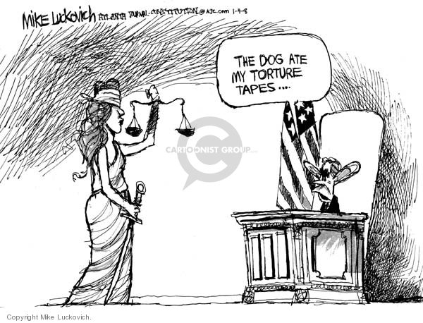 Cartoonist Mike Luckovich  Mike Luckovich's Editorial Cartoons 2008-01-04 Bush accountability