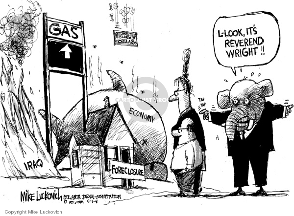 Cartoonist Mike Luckovich  Mike Luckovich's Editorial Cartoons 2008-05-01 attention