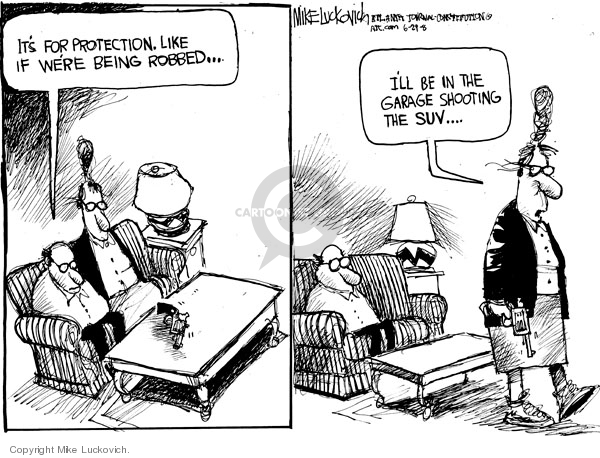 Cartoonist Mike Luckovich  Mike Luckovich's Editorial Cartoons 2008-06-27 gun