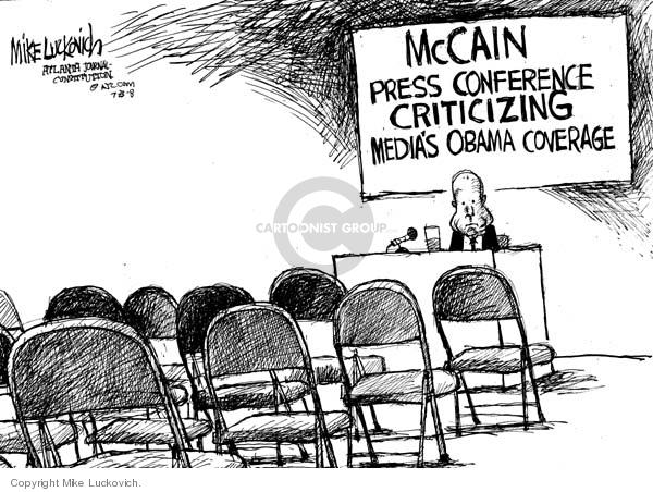 McCain Press Conference Criticizing Medias Obama Coverage.
