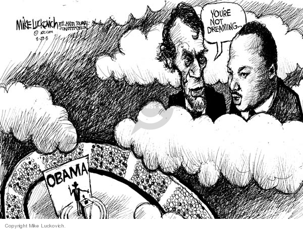 Cartoonist Mike Luckovich  Mike Luckovich's Editorial Cartoons 2008-08-29 Martin Luther King Jr.