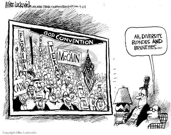 Cartoonist Mike Luckovich  Mike Luckovich's Editorial Cartoons 2008-09-04 racial