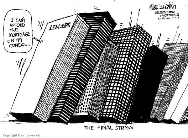 Cartoonist Mike Luckovich  Mike Luckovich's Editorial Cartoons 2008-09-16 finance