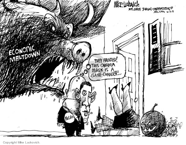 Cartoonist Mike Luckovich  Mike Luckovich's Editorial Cartoons 2008-10-07 finance investment