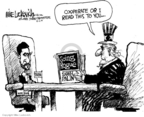 Cartoonist Mike Luckovich  Mike Luckovich's Editorial Cartoons 2009-10-02 nuclear weapon