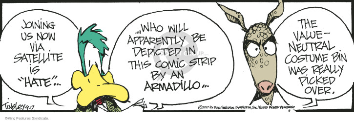 "Joining us now via satellite is ""hate"" … who will apparently be depicted in this comic strip by an armadillo … The value-neutral costume bin was really picked over."