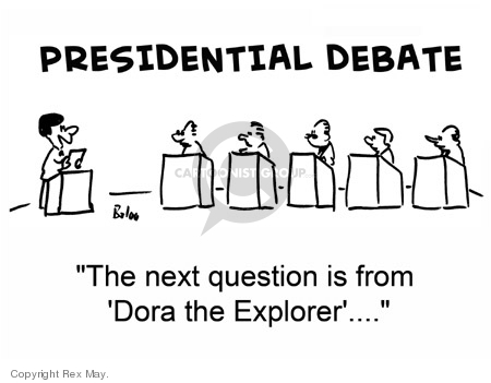 "Presidential Debate.  The next question is from ""Dora the Explorer""…"