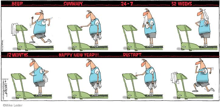 Comic Strip Mike Lester  Mike du Jour 2012-12-30 treadmill