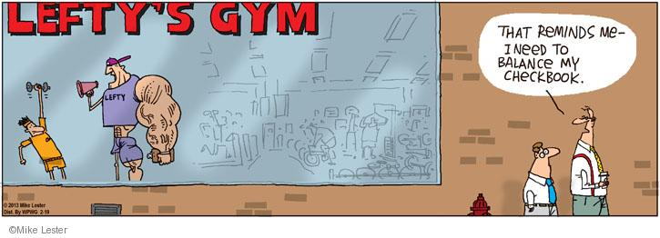 Comic Strip Mike Lester  Mike du Jour 2013-02-19 fitness instructor