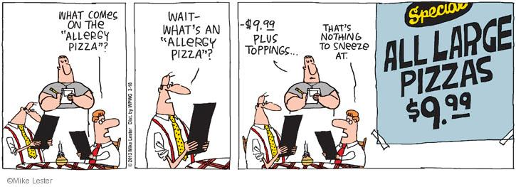 Comic Strip Mike Lester  Mike du Jour 2013-03-18 pizza