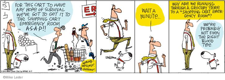 Comic Strip Mike Lester  Mike du Jour 2013-09-17 grocery cart