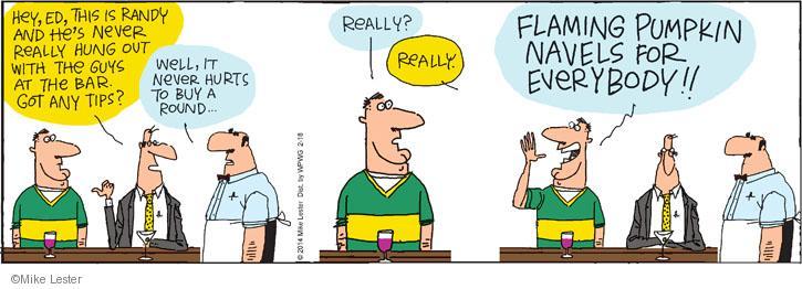 Cartoonist Mike Lester  Mike du Jour 2014-02-18 bartender