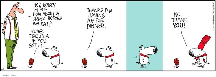 Comic Strip Mike Lester  Mike du Jour 2014-08-05 dinner guest