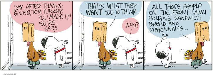 Cartoonist Mike Lester  Mike du Jour 2014-11-28 Thanksgiving turkey