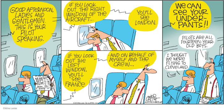 Cartoonist Mike Lester  Mike du Jour 2015-05-24 airplane travel