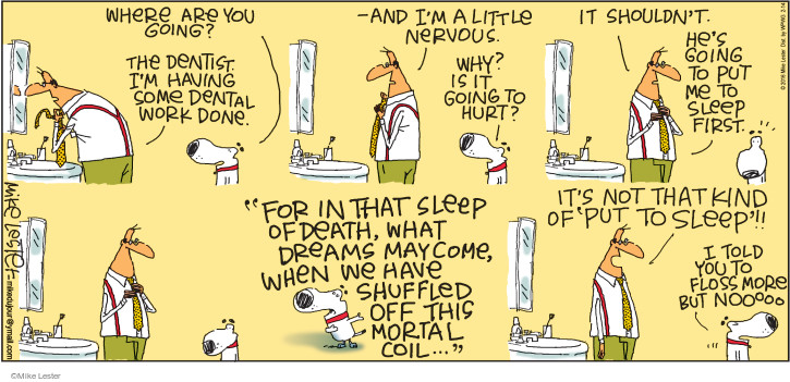 Comic Strip Mike Lester  Mike du Jour 2016-02-14 dental floss