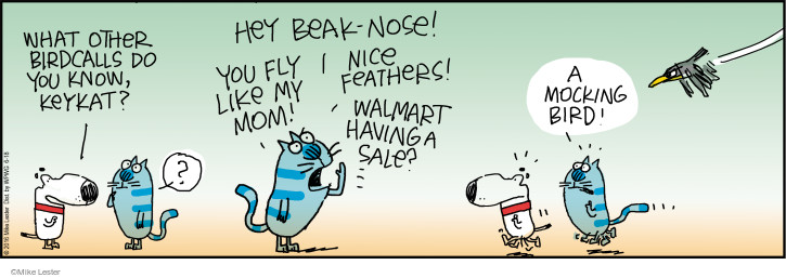 What other birdcalls do you know, keykat? Hey beak-nose! You fly like my mom! Nice feathers! Walmart having a sale? A mocking bird!