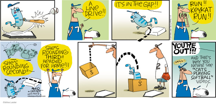 Comic Strip Mike Lester  Mike du Jour 2016-07-17 cat video
