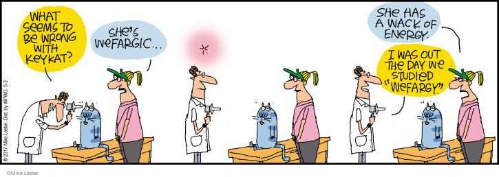 Cartoonist Mike Lester  Mike du Jour 2017-05-03 cat medicine